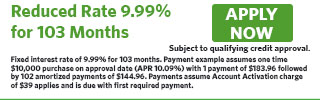Fixed APR of 9.99% for 103 months
