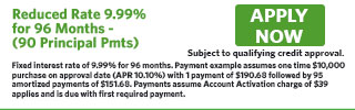 2786 - Reduced Rate 9.99% for 96 Months - (90 Principal Pmts)