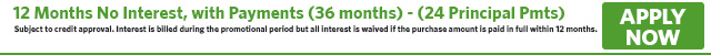 No Interest with Payments for 12 Months