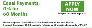 6060 – Equal Payments, 0% for 60 Months