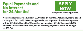 6124 - Equal Payments, 0% for 24 Months