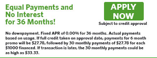 6136 - Equal Payments, 0% for 36 Months