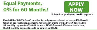 6160 - Equal Payments, 0% for 60 Months