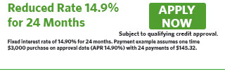 Reduced Rate APR 14.9% for 24 Months, 5 Interest Only Payments, 19 Principal Pmts
